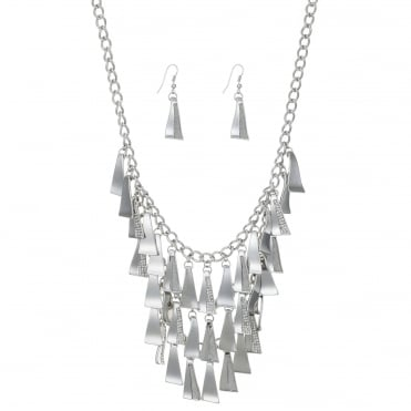 Silver pave shower necklace and earring set