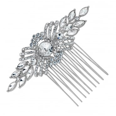 Silver pave swirl hair comb