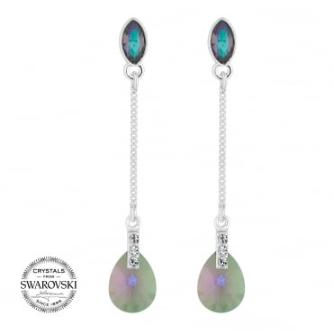 Silver peardrop earring MADE WITH SWAROVSKI CRYSTALS