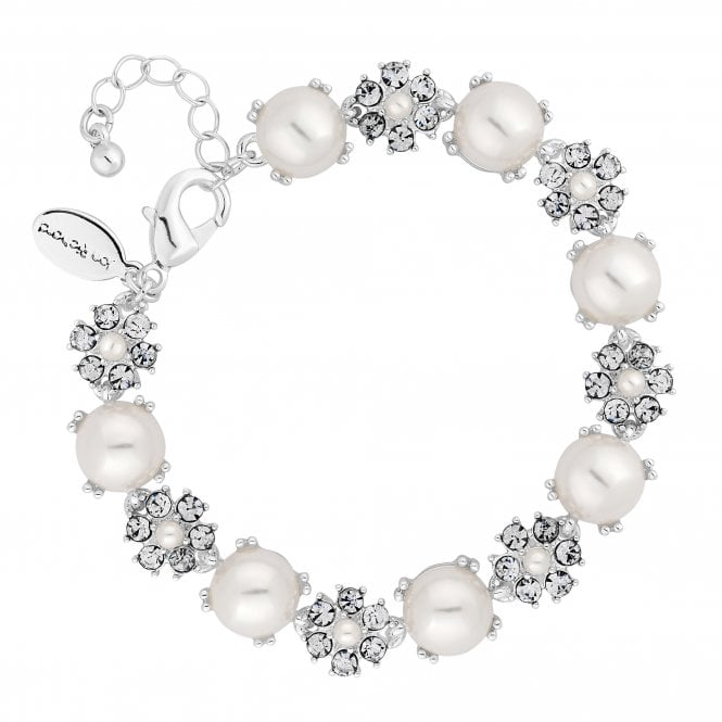 Silver Pearl And Crystal Flower Bracelet