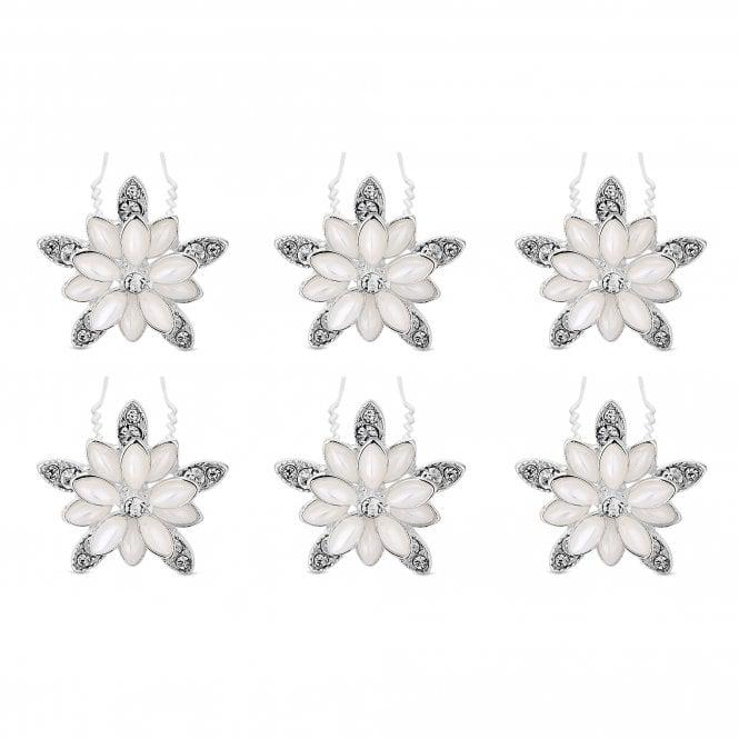 Silver Pearl And Crystal Hair Pin Set