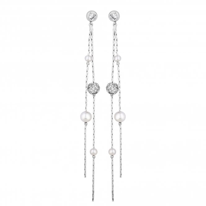 Silver Pearl And Crystal Multi Drop Earring