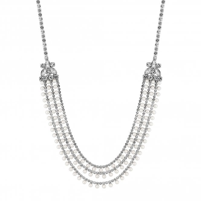Silver Pearl And Crystal Multi Row Necklace