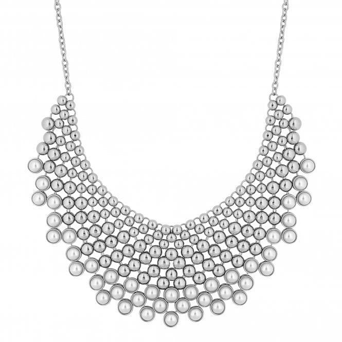 Silver Pearl Bib Statement Necklace