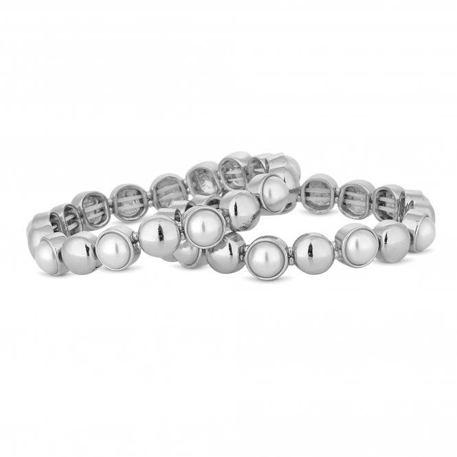 Silver Pearl Disc Stretch Bracelet Set