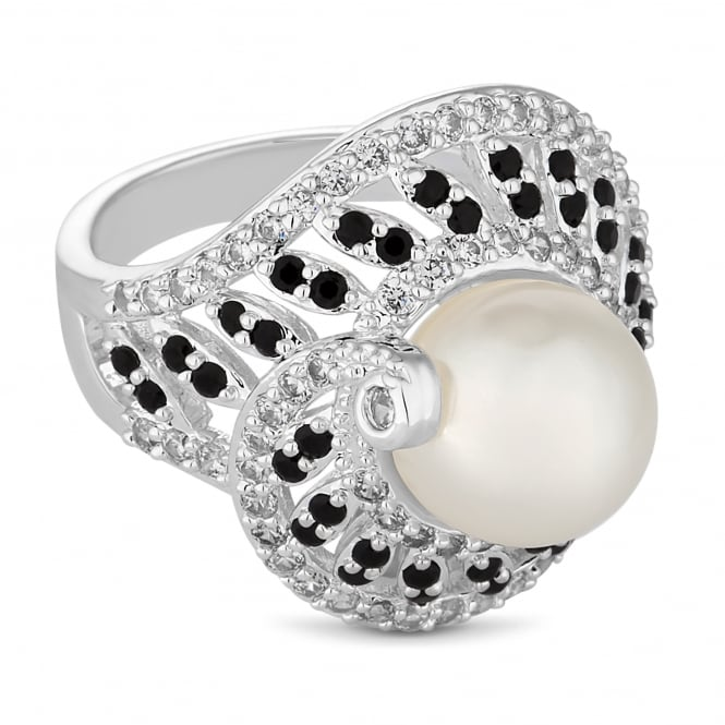 Jon Richard Silver pearl swirl ring