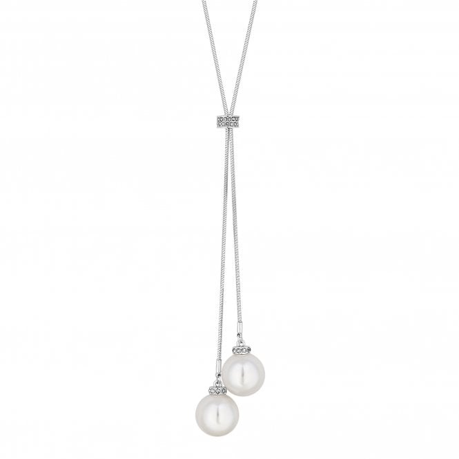 Silver Pearl Toggle Long Lariat Necklace
