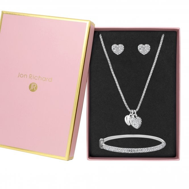 Jewellery|Women's Silver Plated Crystal Pave Heart Set - Gift Boxed