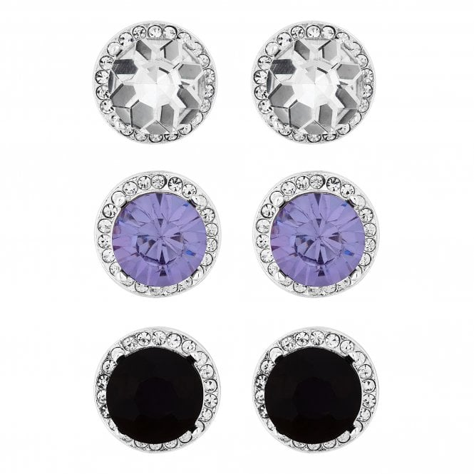 Silver Purple And Black Crystal Halo Stud Earring Set