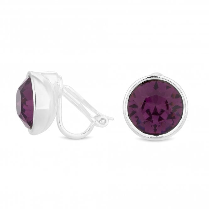 Silver Purple Clip On Earring Embellished With Swarovski Crystals