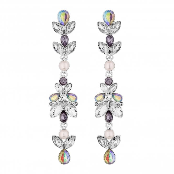 Silver Purple Crystal And Pearl Drop Earring