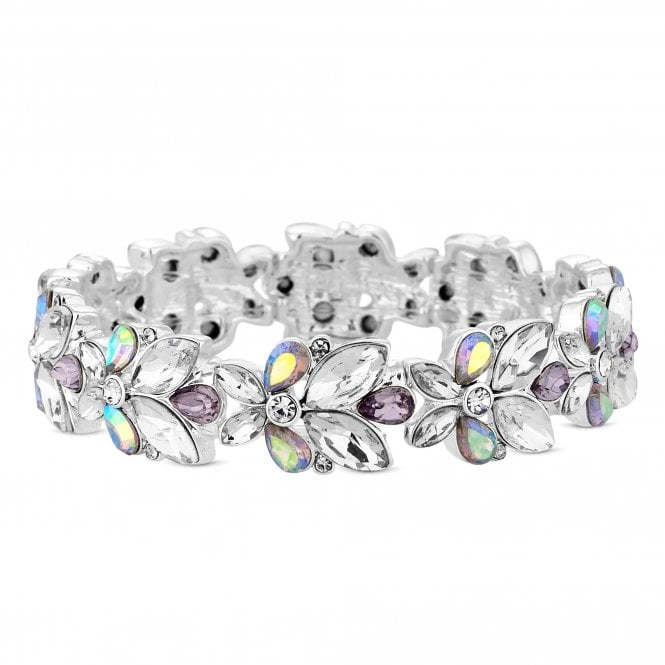 Silver Purple Crystal Stretch Bracelet