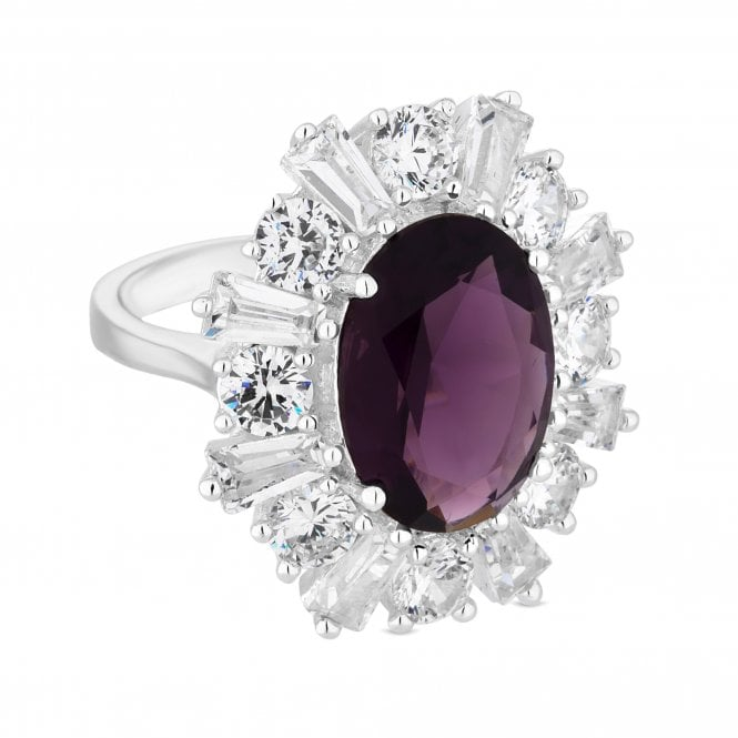 Silver Purple Cubic Zirconia Statement Ring