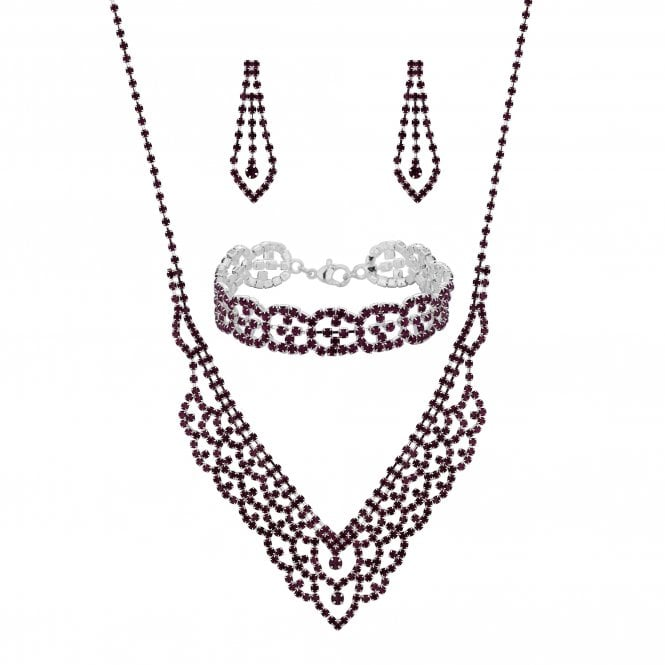Silver Purple Diamante Crystal Jewellery set