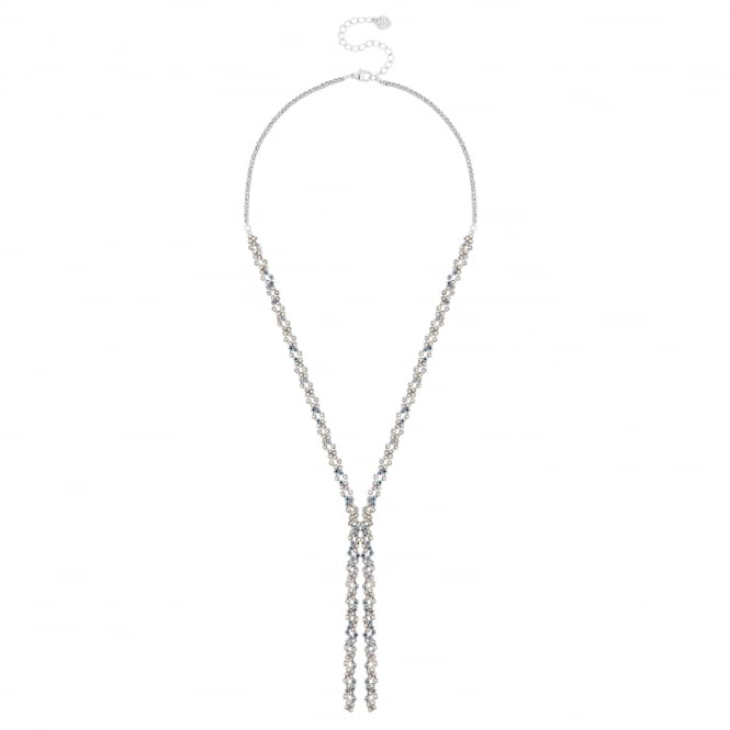 Silver Rainbow Crystal Lariat Necklace