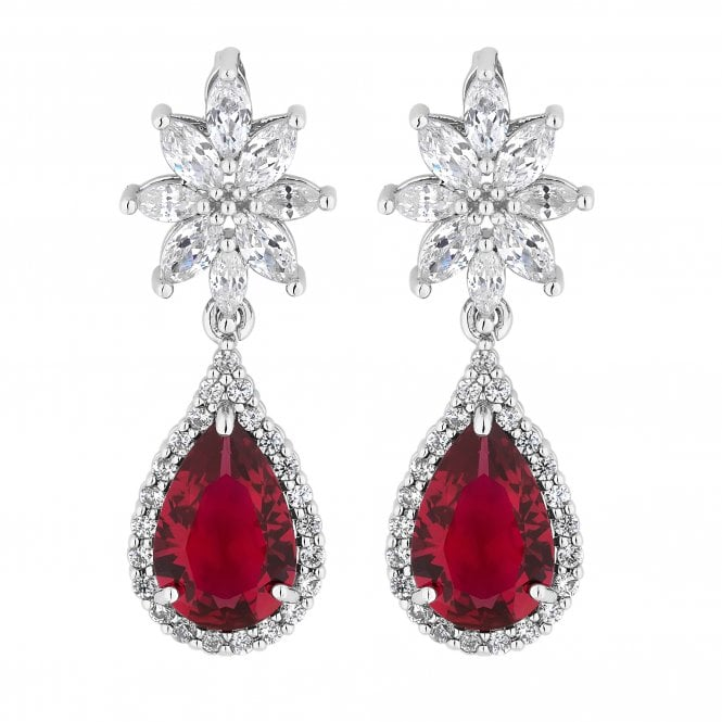 Silver Red Cubic Zirconia Statement Drop Earring