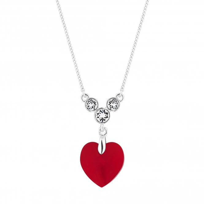 Silver Red Heart Pendant Necklace Embellished With Swarovski Crystals