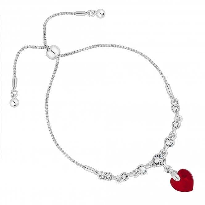 Silver Red Heart Toggle Bracelet Embellished With Swarovski Crystals