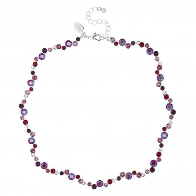 Silver Shimmer Reds Statement Necklace Embellished With Swarovski Crystals
