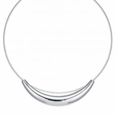 Silver sleek bar collar necklace