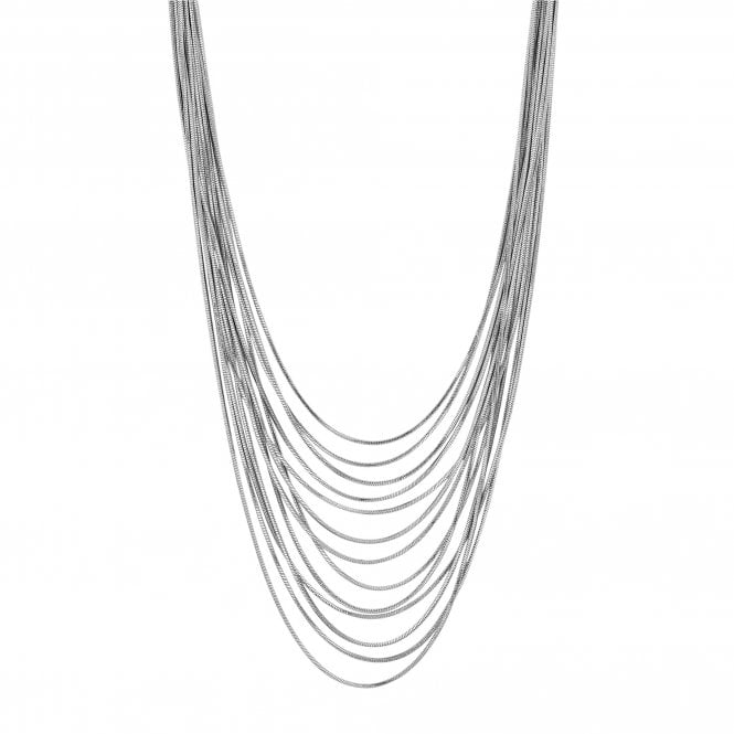 Silver Slinky Chain Multi Row Necklace
