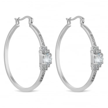 Silver square pave hoop earring