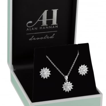 Silver starburst jewellery set