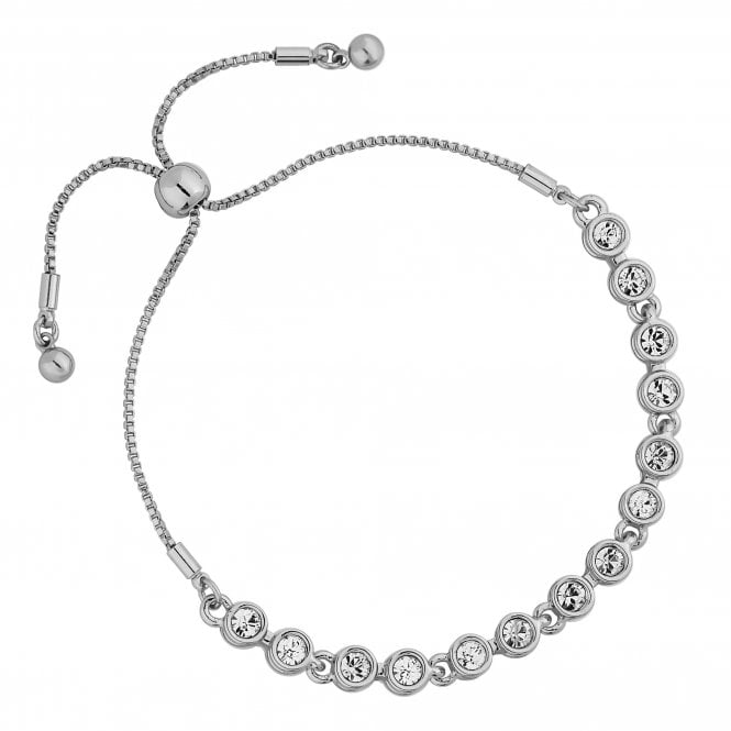 Silver Tennis Crystal Toggle Bracelet Embellished With Swarovski Crystals