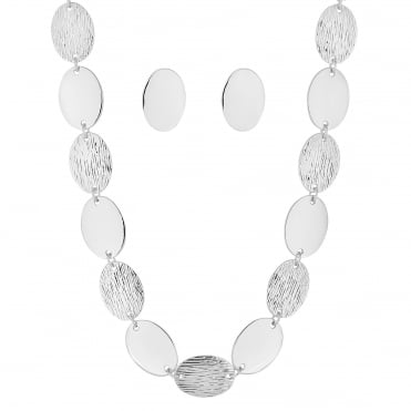 Silver textured oval disc jewellery set