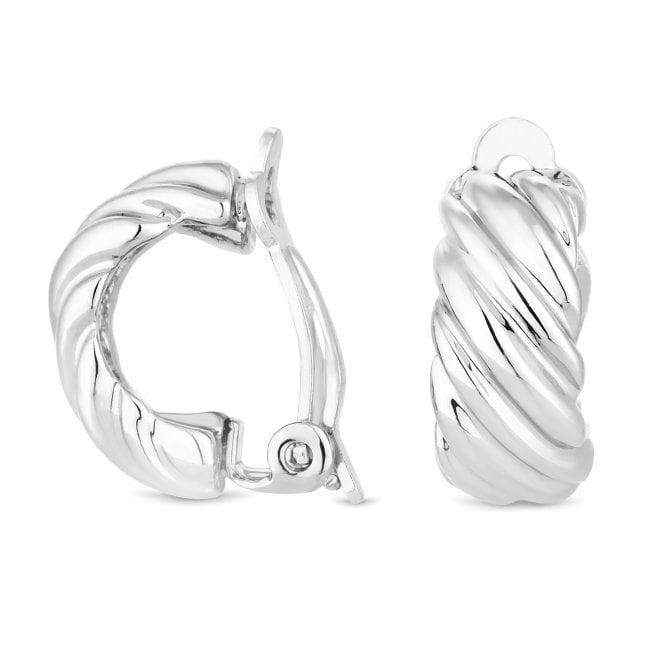 Silver Twist Clip On Earring