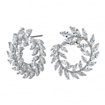 Silver wreath earring