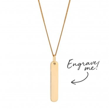 fdbe0fcf03751 12ct Yellow Gold Plated Sterling Silver 925 Vertical Bar Necklace -  Personalise By Engraving