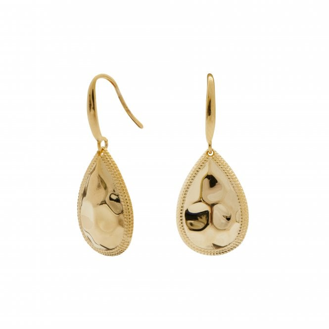 14ct Gold Plated Sterling Silver Beaded Edge Pear Drop Earrings