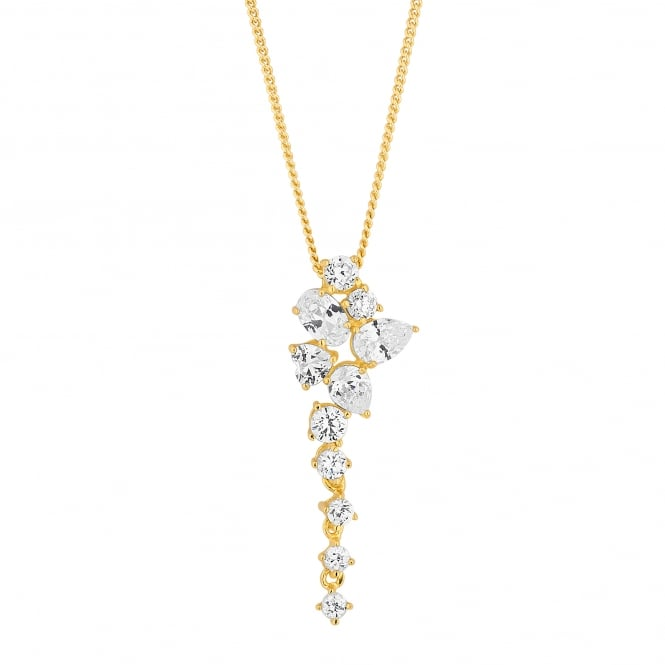 14ct Gold Plated Sterling Silver Cubic Zirconia Statement Necklace