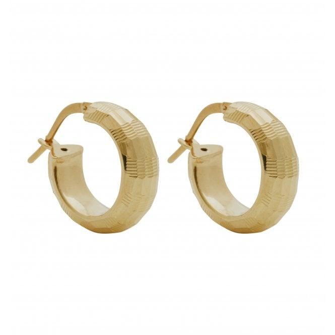 14ct Gold Plated Sterling Silver Diamond Cut Hoop Earrings