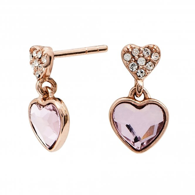 14ct Rose Gold Pink Made with Swarovski Mini Drop Earrings