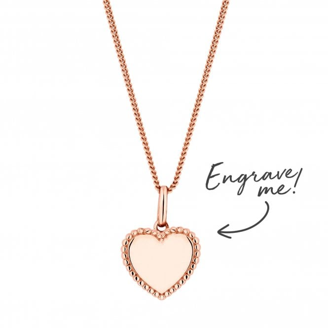 14ct Rose Gold Plated Sterling Silver 925 Beaded Edge Personalised Heart Pendant
