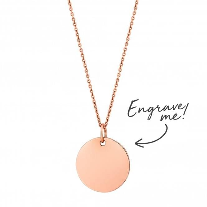 Image of 14ct Rose Gold Plated Sterling Silver 925 Disc Necklace - Personalise By Engraving