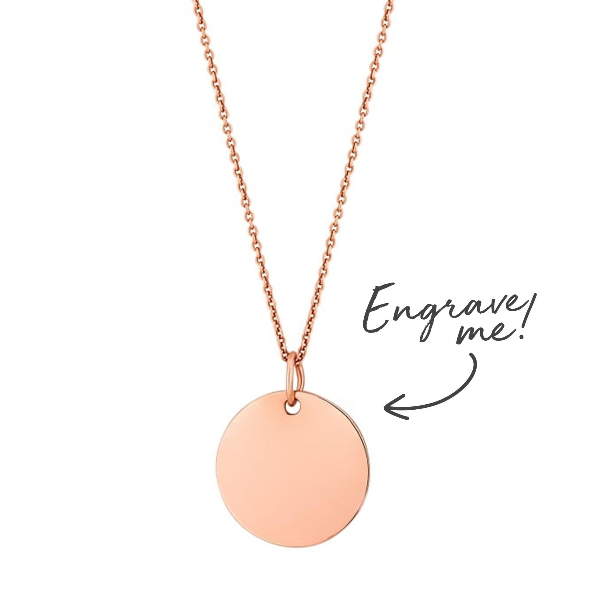 9a58f85c403030 Simply Silver 14ct Rose Gold Plated Sterling Silver 925 Disc Necklace -  Personalise By Engraving