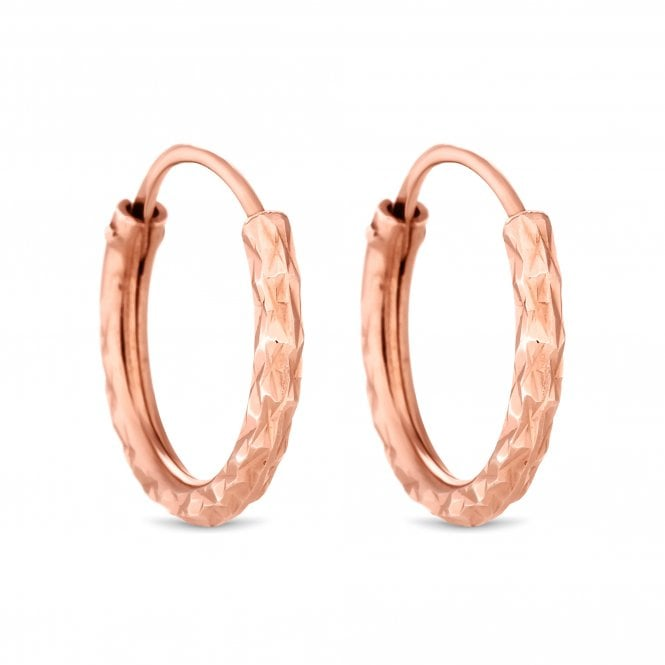 14Ct Rose Gold Plated Sterling Silver 925 Mini Diamond Cut Hoop Earring