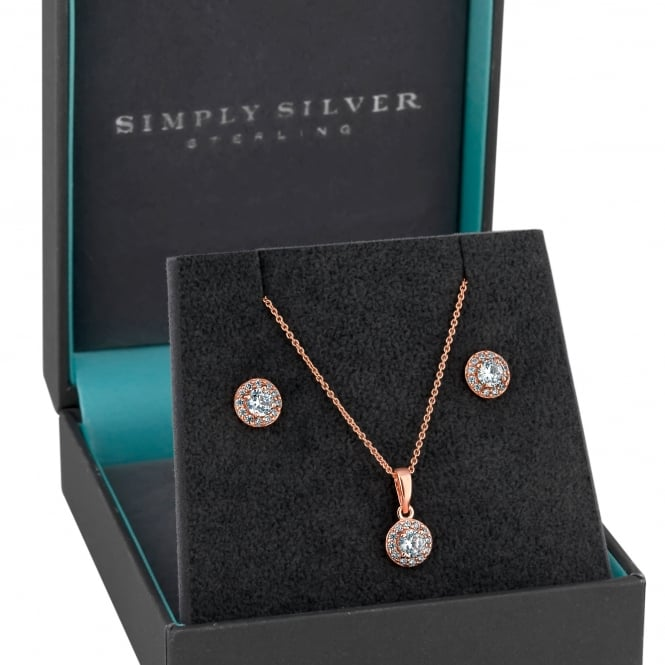 Image of 14ct Rose Gold Plated Sterling Silver 925 Oversized Round Halo Jewellery Set In A Gift Box