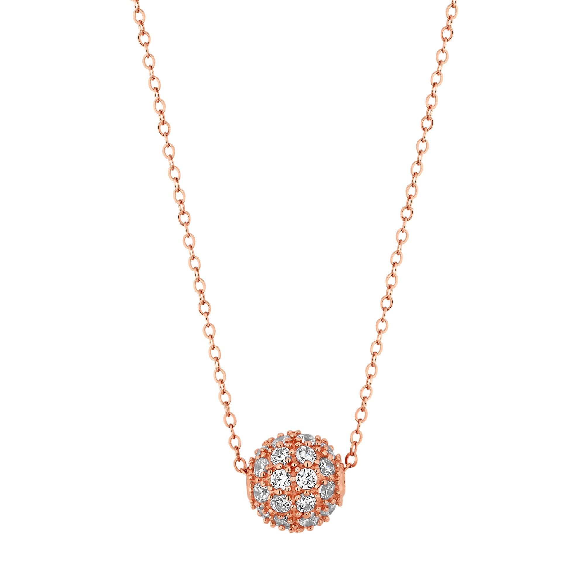 f7ec7306708c1 Simply Silver 14ct Rose Gold Plated Sterling Silver 925 Pave Ball Pendant  Necklace