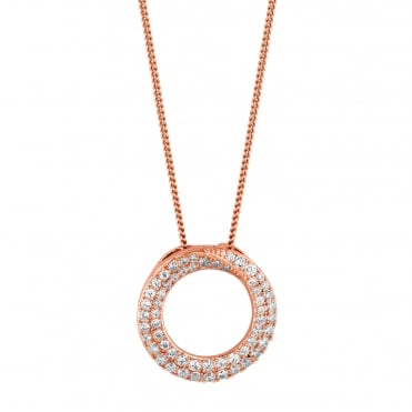 c5612951bbdb5 14ct Rose Gold Plated Sterling Silver 925 Pave Circle Necklace