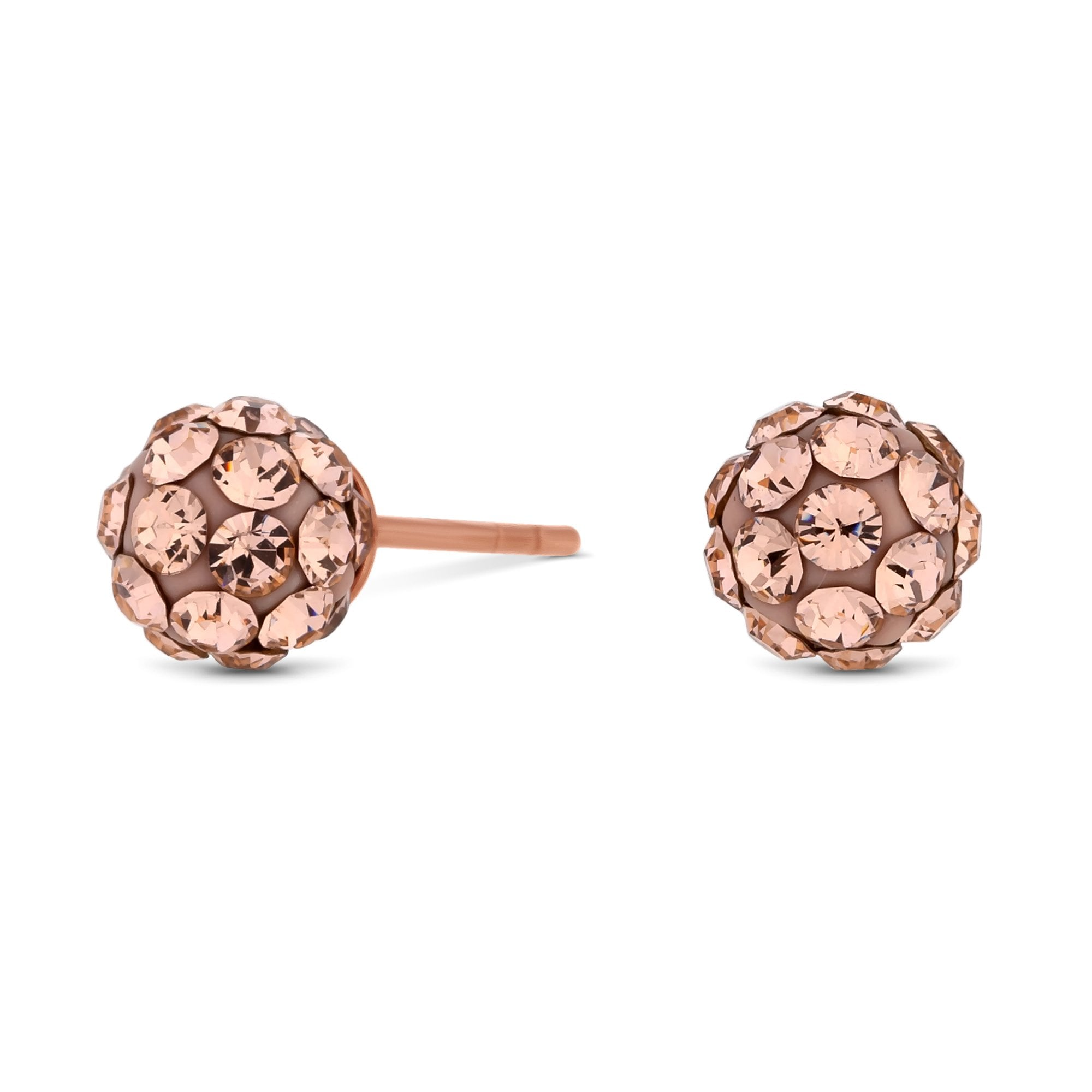 791d731be6a96 14Ct Rose Gold Plated Sterling Silver 925 Pink Crystal 6mm Pave Ball Stud  Earring