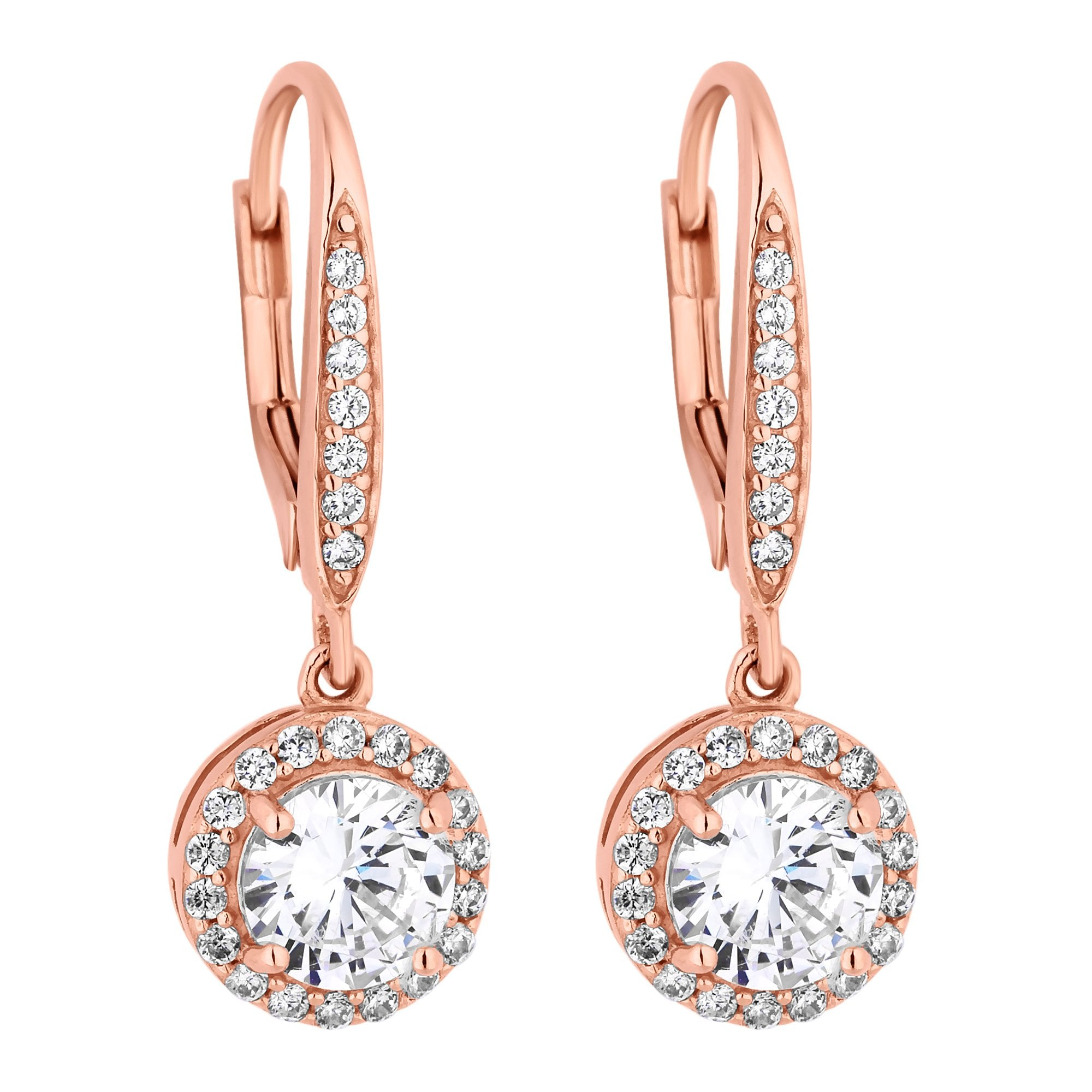 75874cafd6eda 14Ct Rose Gold Plated Sterling Silver 925 White Cubic Zirconia Clara Drop  Earring