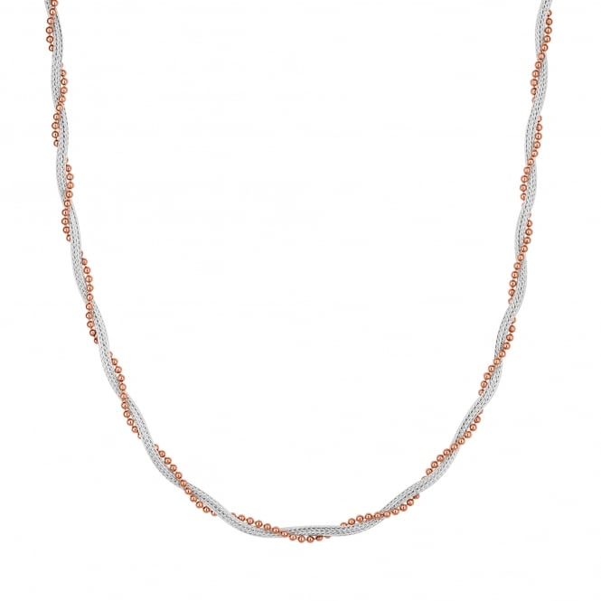 14ct Rose Gold Plated Sterling Silver And Sterling Silver Twist Necklace