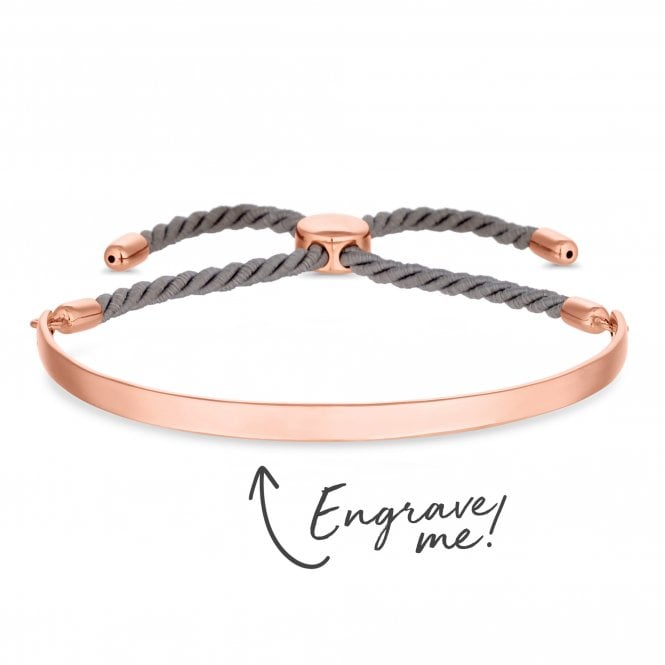 14ct Rose Gold Plated Sterling Silver Bangle Bar On A Grey Cord Toggle Bracelet - Personalise By Engraving