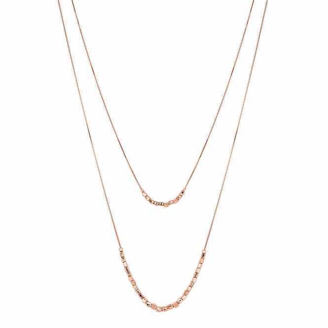 14ct Rose Gold Plated Sterling Silver Beaded Multi Chain Necklace