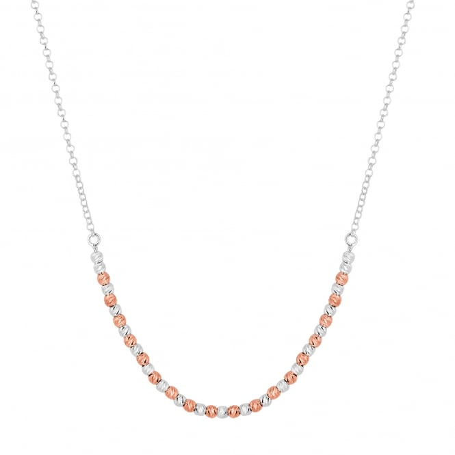 14ct Rose Gold Plated Sterling Silver Beaded Sterling Silver Necklace