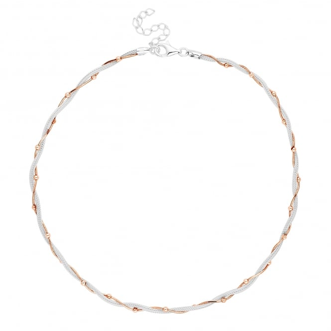 14ct Rose Gold Plated Sterling Silver Beaded Two Tone Twist Mesh Necklace